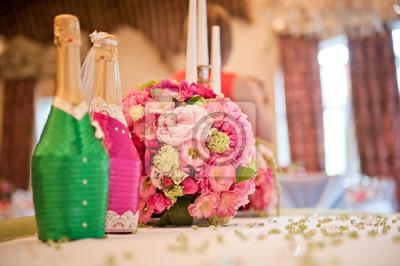 Hochzeit Tischdekoration Jungvermahlten In Einer Rosa Grunen