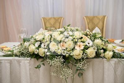 Hochzeit Tischdekoration Roses Ganseblumchen Weisse Creme Blumen