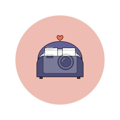 Hochzeit Vektor Flachen Symbol Der Bequemen Bett Fototapete