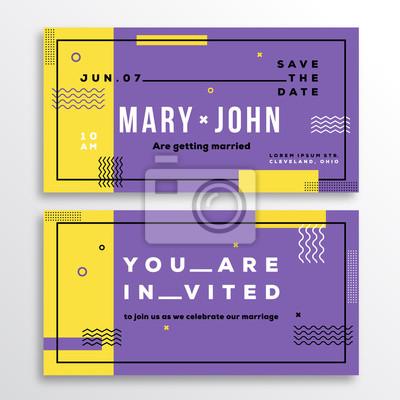 Hochzeits-einladungs-karten-schablone. moderne abstrakte flache ...
