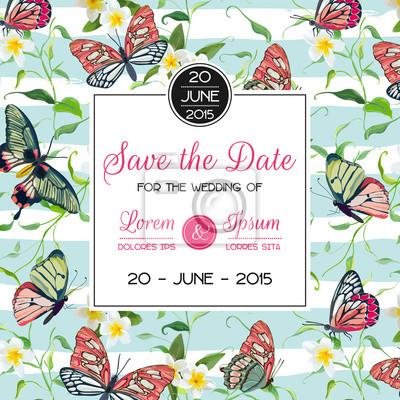 Hochzeits-einladungs-schablonen-tropisches design mit exotischen ...