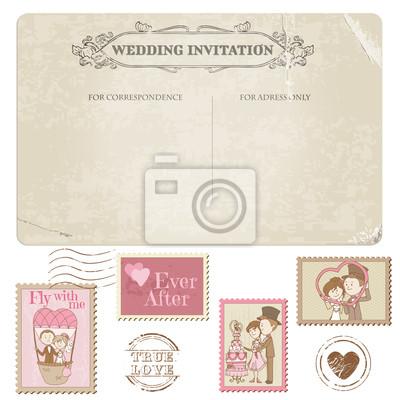Fototapete Hochzeits Postkarte Und Briefmarken   Für Hochzeit Design,  Einladung