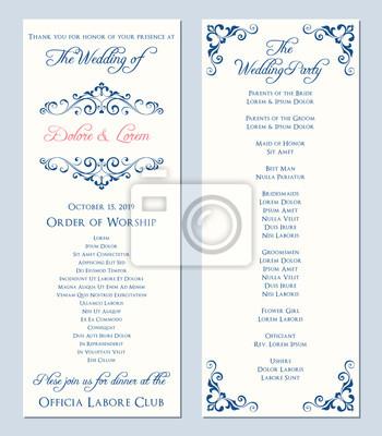 Hochzeits-programm-schablone fototapete • fototapeten Empfang ...