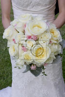 Hochzeitsblumen Rosa Und Weiss Brautstrauss Mit Rosen Fototapete