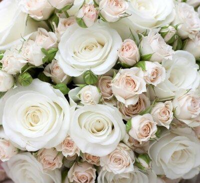 Fototapete Hochzeitsblumenstrauß der weißen Rosen pinkand