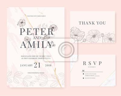 Hochzeitseinladungskarte Mit Blumenschablonen Rosasatz Fototapete