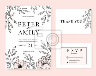 Fototapete Hochzeitseinladungskarte Mit Blumenschablonen Rosasatz