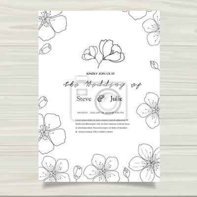 Hochzeitseinladungskarte Mit Blumenvorlagen Fototapete Fototapeten