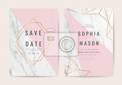 Hochzeitskarten Mit Marmor Und Rosegold Textur Fototapete