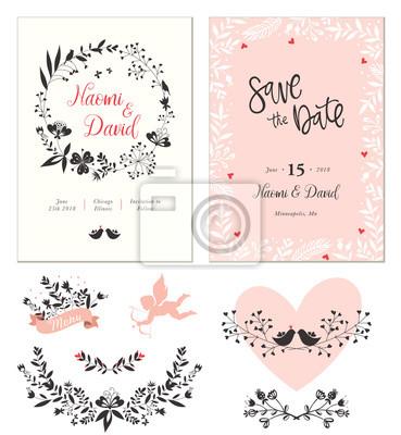 Hochzeitskarten Mit Typografischem Design Herzform Vogel Amor