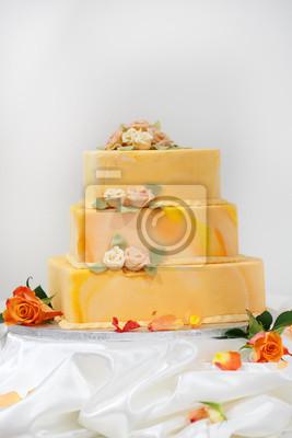 Fototapete Hochzeitstorte In Gelb Und Orange