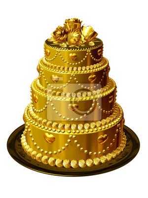 Hochzeitstorte In Gold Fototapete Fototapeten Kernstuck Gluck