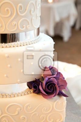 Fototapete Hochzeitstorte Mit Blumen Und Band Dekoration