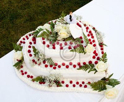 Hochzeitstorte Mit Rosen Und Erdbeeren Fototapete Fototapeten