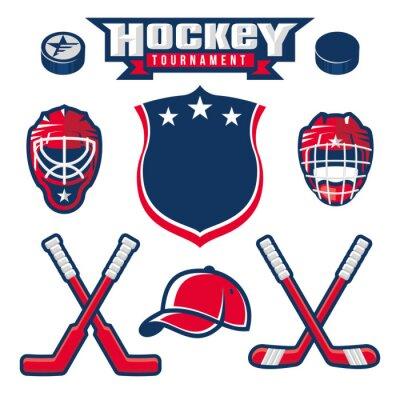 Fototapete Hockey-Logo, Emblem, Aufkleber, Abzeichen-Design-Elemente