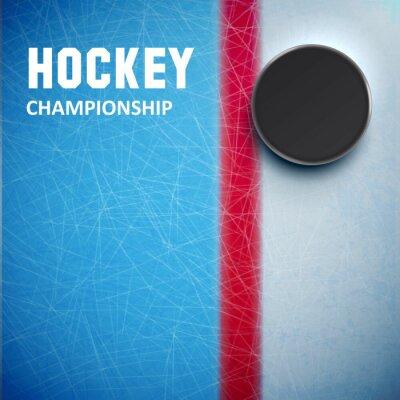 Fototapete Hockey Puck isoliert auf Eis Ansicht