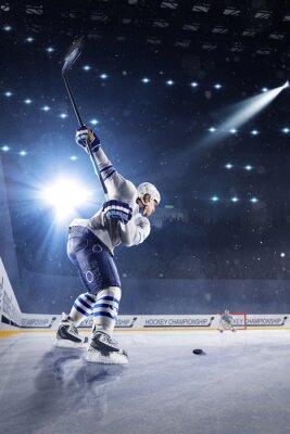 Fototapete Hockey Spieler schießt den Puck und Angriffe