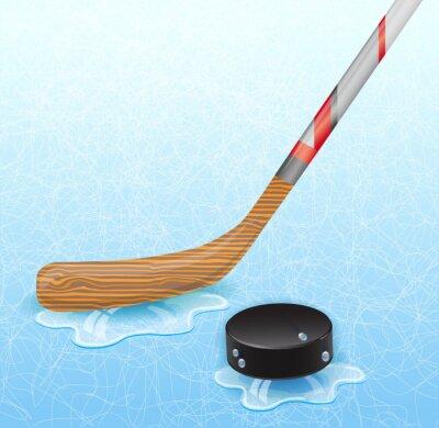 Fototapete Hockey-Stick und Eishockey-Puck. Abbildung 10 Version.