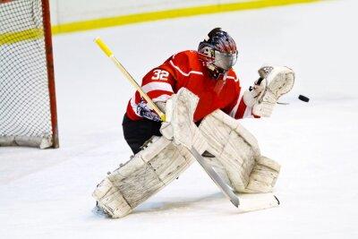 Fototapete Hockey Torwart in generischen roten Ausrüstung schützt Tor