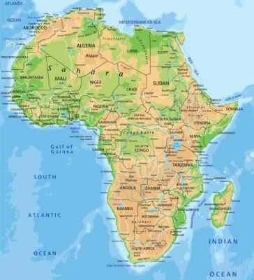 Fototapete Hohe detaillierte physikalische Karte Afrika mit Etikettierung.