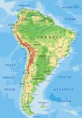 Fototapete Hohe detaillierte physikalische Karte Südamerika mit Kennzeichnung.