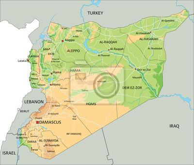 Karte Syrien.Fototapete Hohe Detaillierte Syrien Physische Karte Mit Etikettierung