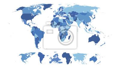 Fototapete Hohe Detaillierte Weltkarte