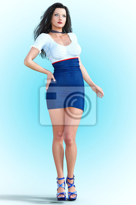 more photos 6b66c 6b65d Fototapete: Hohe schöne mädchen stewardess. kurzes weißes und blaues kleid.