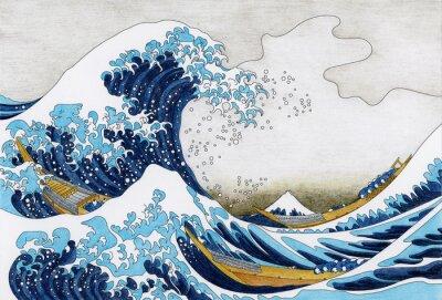 Fototapete Hokusai Die große Welle von Kanagawa Erwachsene Malvorlagen