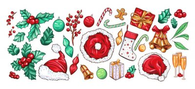 Holiday Xmas party vector decoration objects set. Cartoon color gift box, champagne, socks, bells. Holli Ilex, candy canes and santa claus hat. Christmas greeting card, poster design. New Year symbols