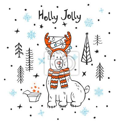 Holly jolly frohe weihnachten weihnachten neujahr grußkarte mit ...
