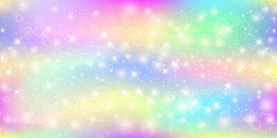 Fototapete Holographischer magischer Hintergrund mit feenhaften Scheinen, Sternen und Unschärfen.