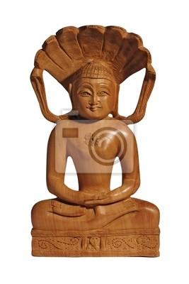 fototapete holz buddha statuette mit einem lacheln isoliert auf weiss