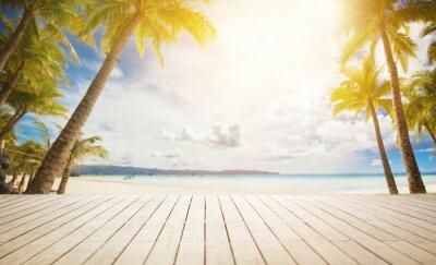 Fototapete Holz-Dock mit tropischen Hintergrund