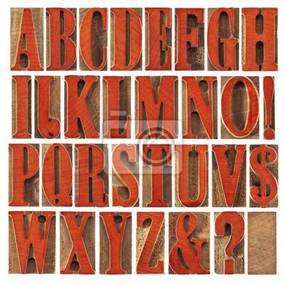 Holz-Typ Alphabet gebeizt von rot