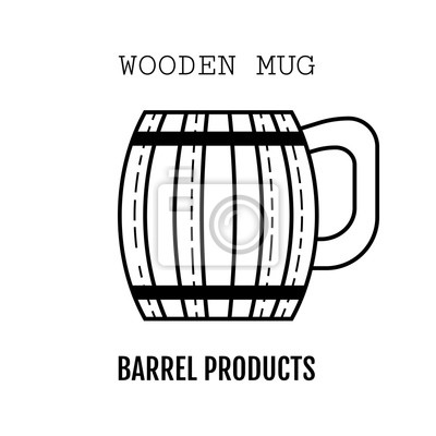 Holzbecher für bier, getränke. schwarz und weiß, flache lineare ...