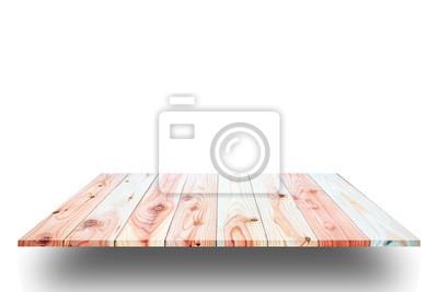 Holzbohlen Regale Und Weißen Hintergrund Für Produktanzeige