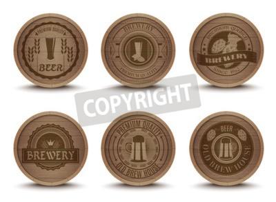 Fototapete Hölzerne Bier-Haus-Embleme Retro-Stil Getränk Drip Matten Untersetzer Symbole Sammlung print abstrakte isolierte Vektor-Illustration
