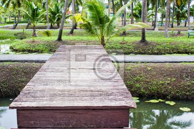 Hölzerne Brücke Im Garten Fototapete Fototapeten Promenade Treppe