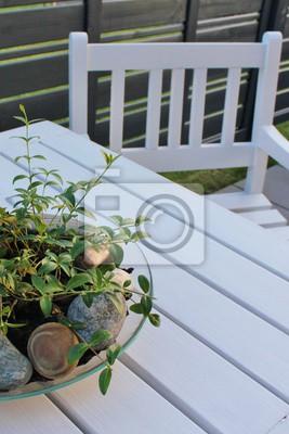 Fototapete Hölzerne, Weiße Gartenmöbel Im Skandinavischen Design