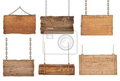 Fototapete Holzschild Hintergrund Nachricht Seil hängenden Kette