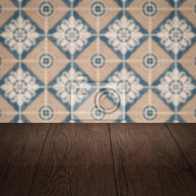 Holztischplatte Und Unscharfe Vintage Fliesen Muster Wand Fototapete