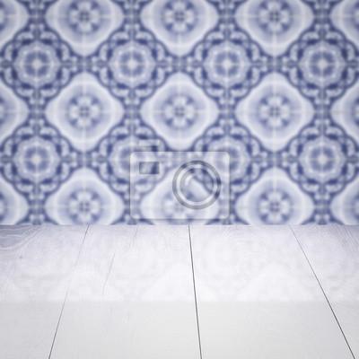 Fototapete Holztischplatte Und Unschärfe Vintage Fliesen Muster Wand