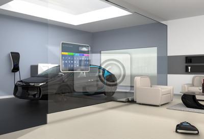 Fototapete: Home automation control panel auf der glaswand. vom wohnzimmer