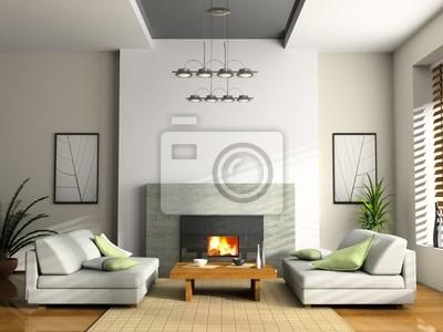Home interieur mit kamin und sofas 3d-rendering fototapete ...