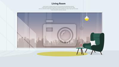 Fototapete Home Interior Design Mit Möbeln. Modernes Wohnzimmer Mit Grünem  Sessel, Tisch, Lampen