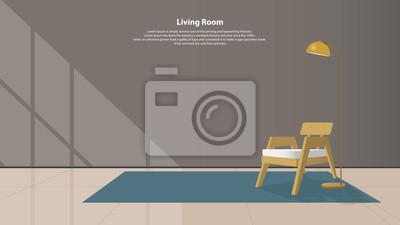 Fototapete Home Interior Design Mit Möbeln. Modernes Wohnzimmer Mit  Holzsessel, Lampen Und Teppich Im