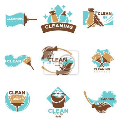 Home reinigung von waschen oder wischen vektor symbole vorlagen ...