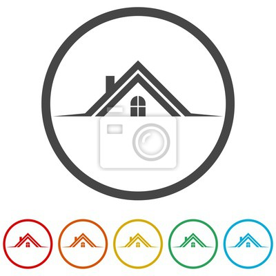 Home Roof Icon Real Estate Symbol 6 Colors Included Fototapete