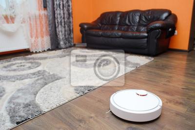Fototapete Home Staubsaugerroboter In Aktion Auf Echten Wohnzimmer Holzboden .